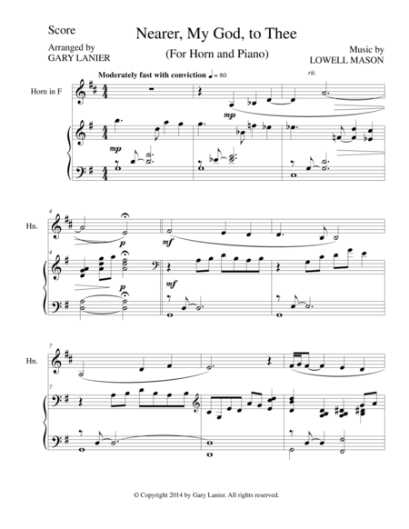NEARER, MY GOD, TO THEE (Fr Horn Piano and HornPart)