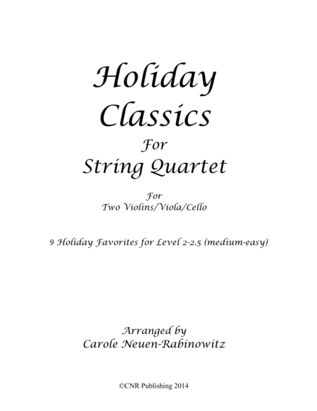 Holiday Classics for String Quartet
