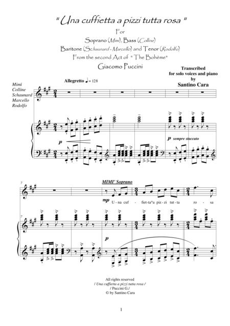 Puccini - La Bohème (Act2) Una cuffietta a pizzi tutta rosa - Solo voices and Piano