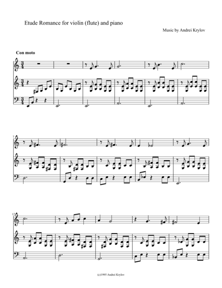 Etude Romance for violin (flute) and piano, Music by Andrei Krylov