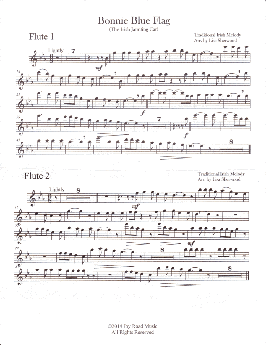 Bonnie Blue Flag for Three Flutes and piano (opt. 3 Clarinets)