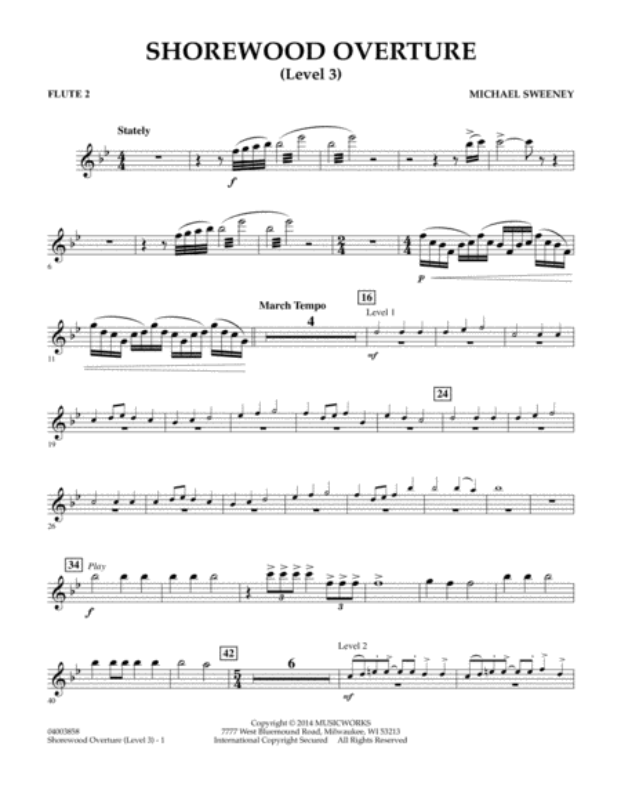 Shorewood Overture (for Multi-level Combined Bands) - Flute 2 (Level 3)