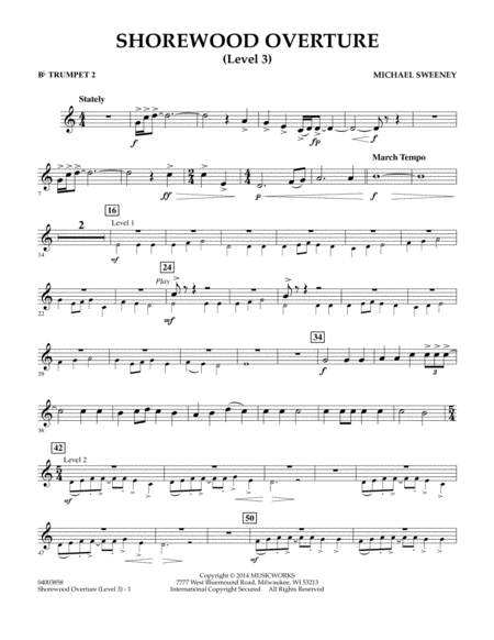 Shorewood Overture (for Multi-level Combined Bands) - Bb Trumpet 2 (Level 3)