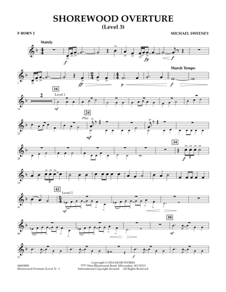 Shorewood Overture (for Multi-level Combined Bands) - F Horn 2 (Level 3)