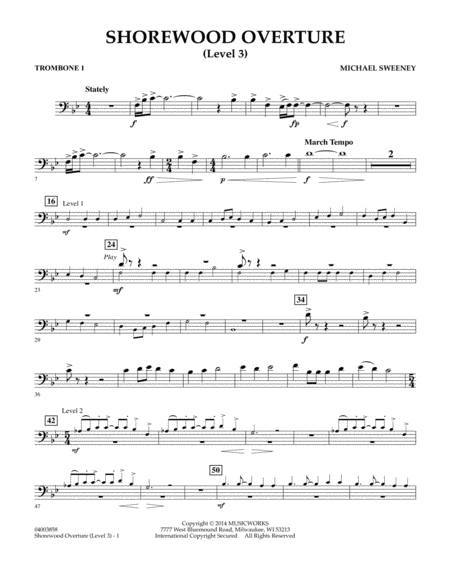 Shorewood Overture (for Multi-level Combined Bands) - Trombone 1 (Level 3)