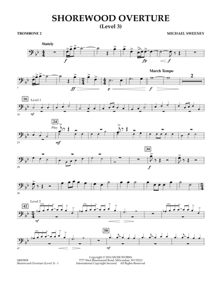 Shorewood Overture (for Multi-level Combined Bands) - Trombone 2 (Level 3)