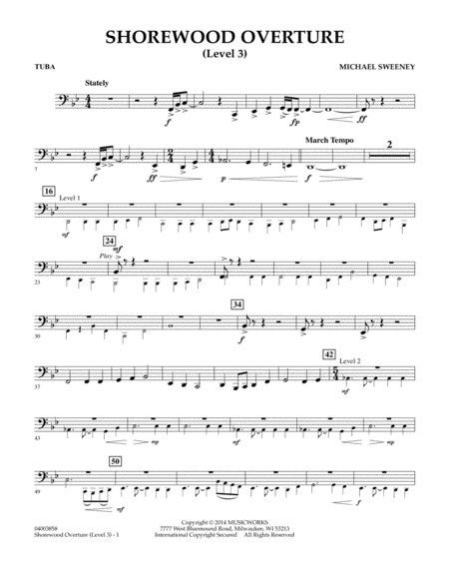 Shorewood Overture (for Multi-level Combined Bands) - Tuba (Level 3)
