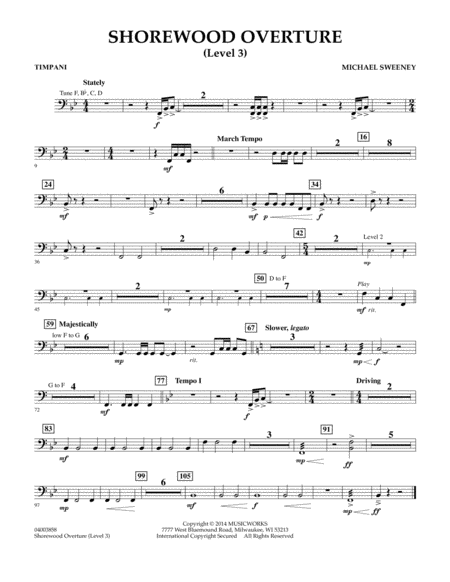 Shorewood Overture (for Multi-level Combined Bands) - Timpani (Level 3)