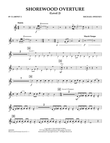 Shorewood Overture (for Multi-level Combined Bands) - Bb Clarinet 2 (Level 2)
