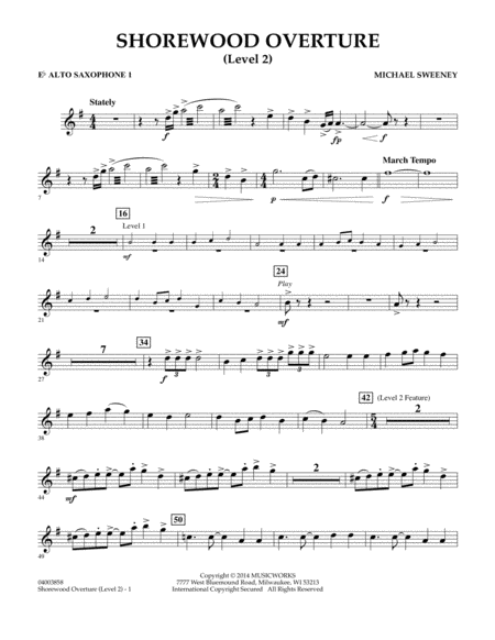 Shorewood Overture (for Multi-level Combined Bands) - Eb Alto Saxophone 1 (Level 2)