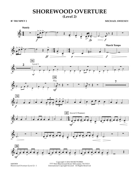 Shorewood Overture (for Multi-level Combined Bands) - Bb Trumpet 2 (Level 2)