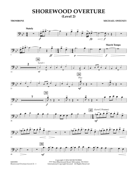 Shorewood Overture (for Multi-level Combined Bands) - Trombone (Level 2)