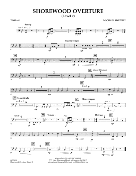 Shorewood Overture (for Multi-level Combined Bands) - Timpani (Level 2)