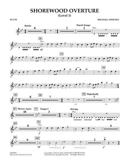 Shorewood Overture (for Multi-level Combined Bands) - Flute (Level 1)