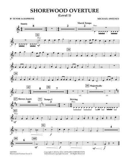 Shorewood Overture (for Multi-level Combined Bands) - Bb Tenor Saxophone (Level 1)
