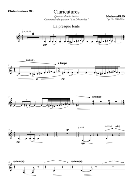 Claricatures, for clarinet quartet - set of parts