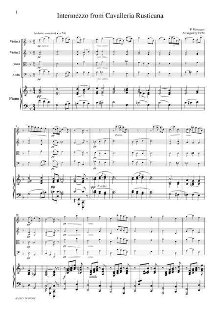 Mascagni Intermezzo from Cavalleria Rusticana, for Piano Quintet. PM901