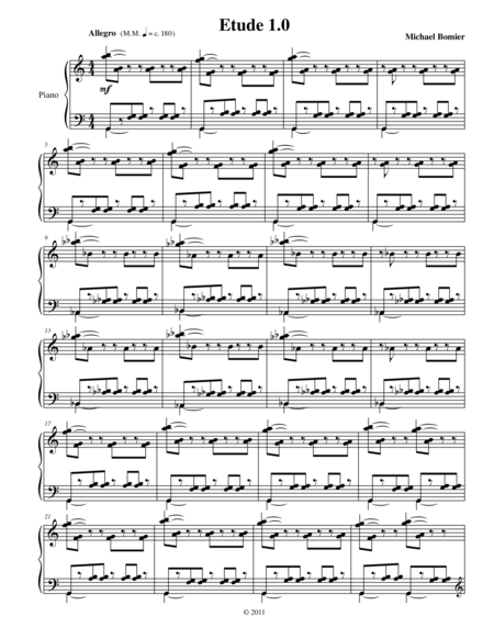 Etude 1.0 for Piano Solo from 25 Etudes using Mirroring, Symmetry, and Intervals