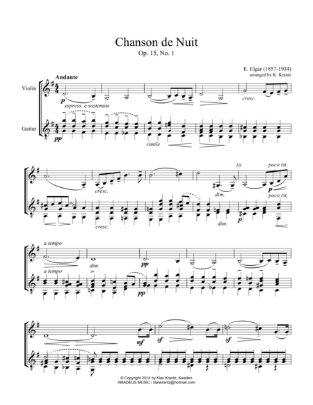 Chanson de Nuit Op. 15 for violin and guitar