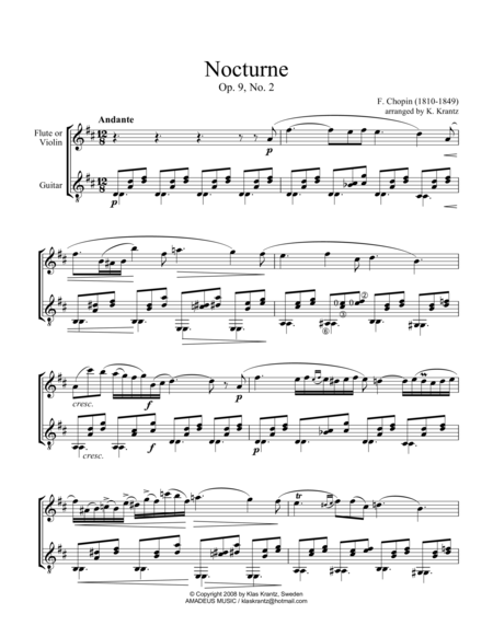Nocturne Op. 9 No. 2 (abridged) for violin or flute and guitar