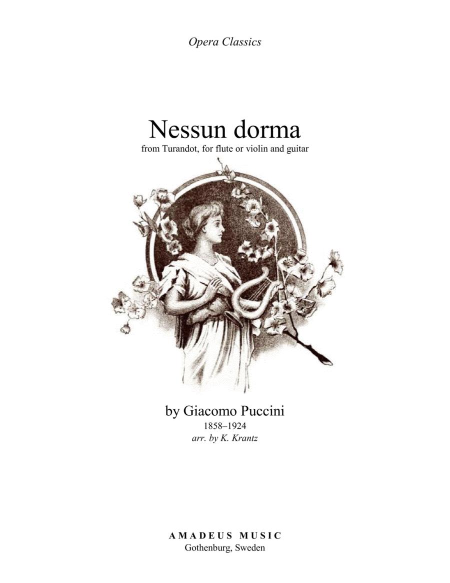 Nessun dorma (abridged) for violin or flute and guitar