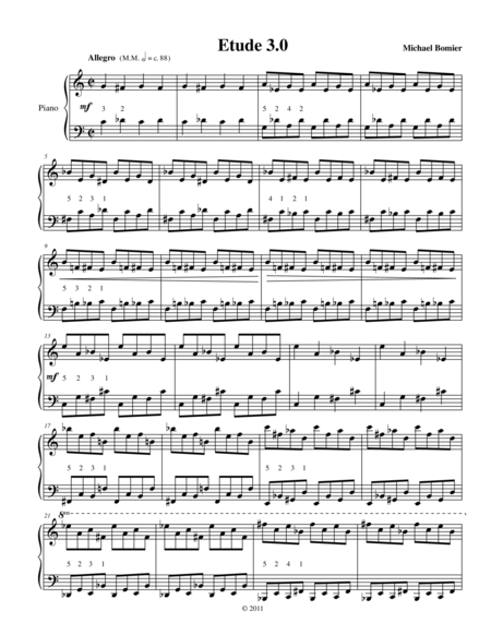 Etude 3.0 from 25 Etudes for Piano using Mirroring, Symmetry, and Intervals