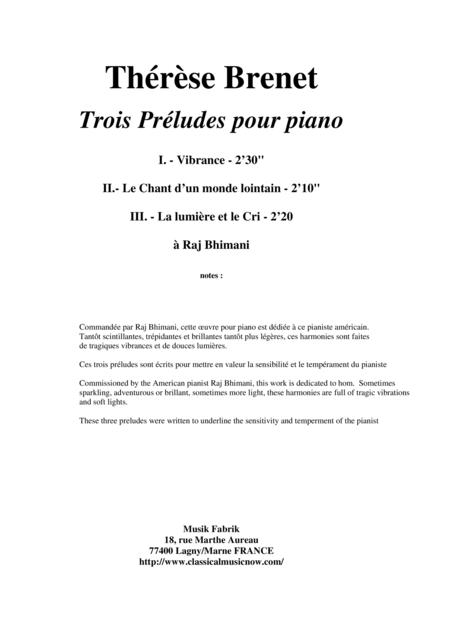 Thérèse Brenet - Trois Préludes pour le piano
