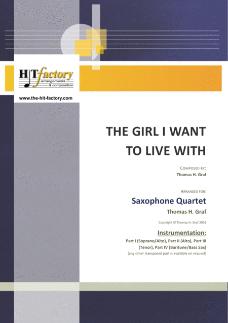 The girl I want to live with - Latin/Calypso - Saxophone Quartet