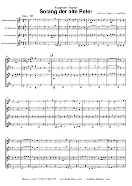 Solang der alte Peter – Oktoberfest – Munich City anthem - Saxophone Quartet S(A)ATB(BassSax)
