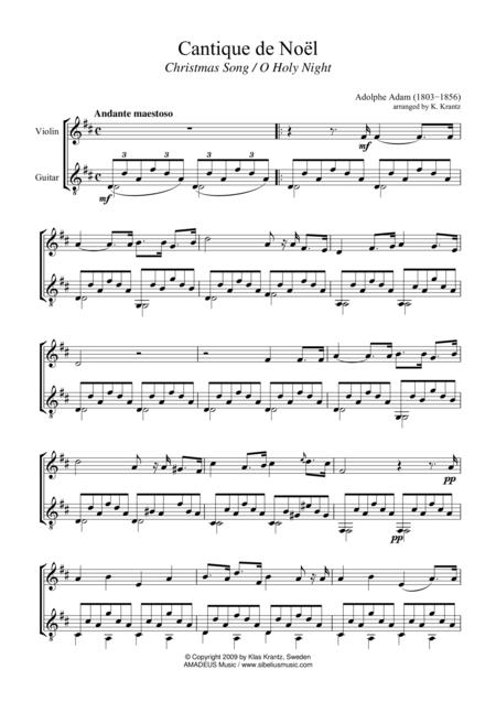 O Holy Night / Cantique de Noel (D major) for violin and guitar