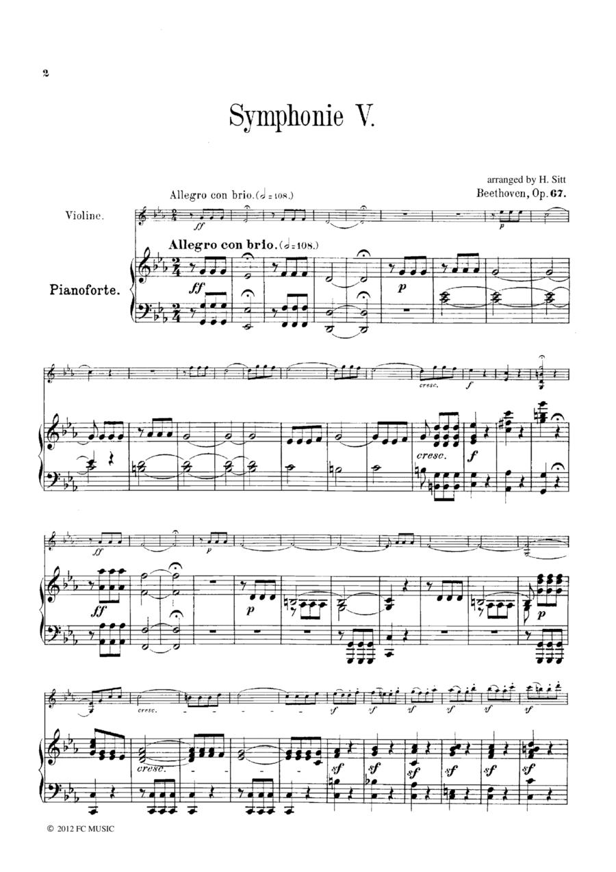 Beethoven Symphony No.5 all mvts, for Violin & Piano, VB001