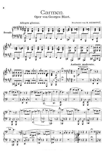 Bizet Carmen Medley, for piano duet(1 piano, 4 hands), PB811