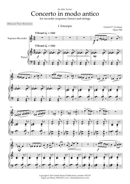 Carson Cooman : Concerto in modo antico (2011) for recorder (soprano or tenor) and strings, piano reduction with solo part