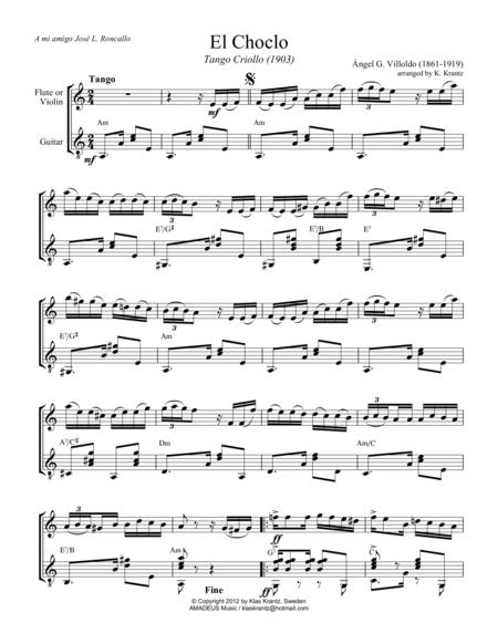 El choclo (tango) for violin or flute and guitar (A Minor)