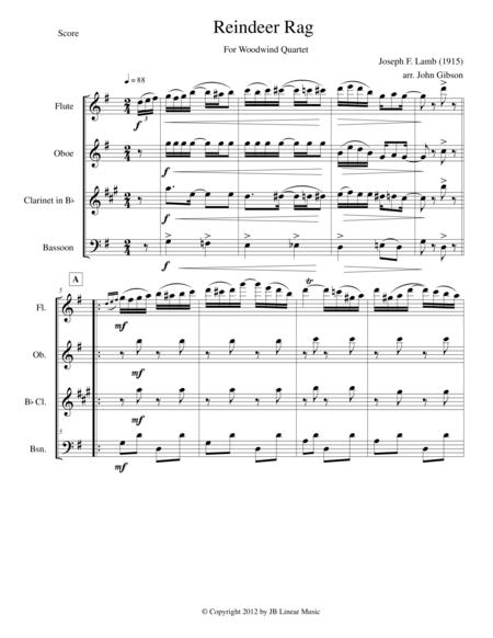 Reindeer Rag by Joseph Lamb for Woodwind Quartet