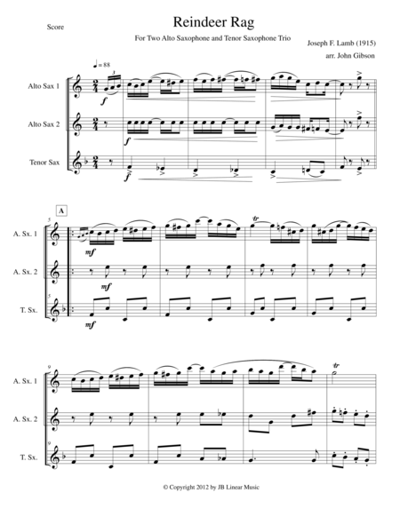 Reindeer Rag by Joseph Lamb for Saxophone Trio (AAT)