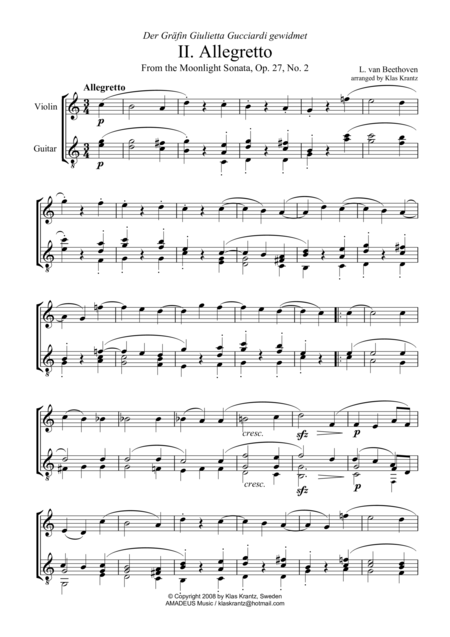 Allegretto from the Moonlight Sonata (C major) for violin and guitar