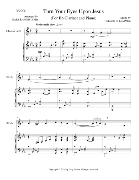 TURN YOUR EYES UPON JESUS (Bb Clarinet Piano and Clarinet Part)