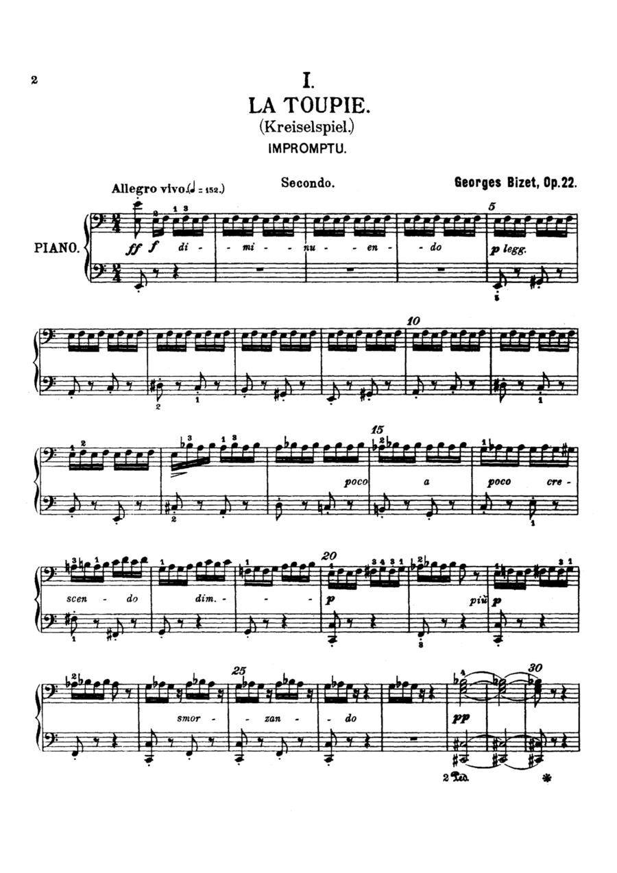 Bizet Children's Games, for piano duet(1 piano, 4 hands), PB812