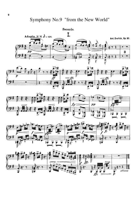 Dvorak Symphony  No.9  I, II, for piano duet(1 piano, 4 hands), PD805