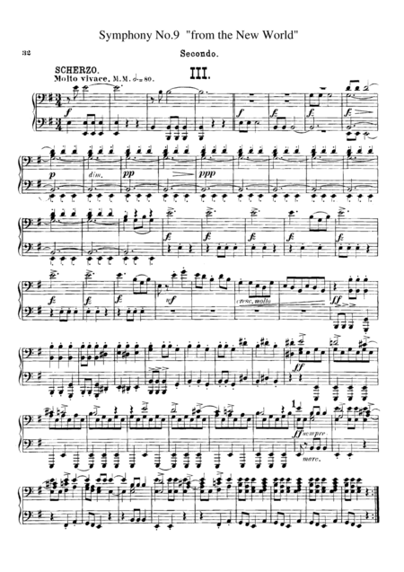 Dvorak Symphony No.9 III, IV, for piano duet(1 piano, 4 hands), PD806