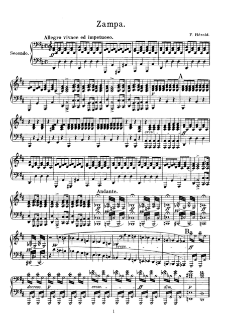 Helord Zampa Overture, for piano duet(1 piano, 4 hands), PH801