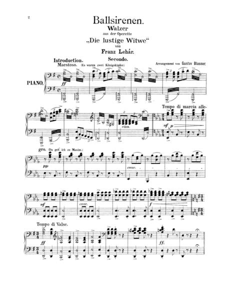 Lehar The Merry Widow Waltz, for piano duet(1 piano, 4 hands), PL801