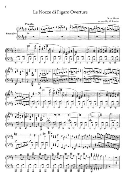 Mozart Le Nozze di Figaro Overture, for piano duet(1 piano, 4 hands), PM801