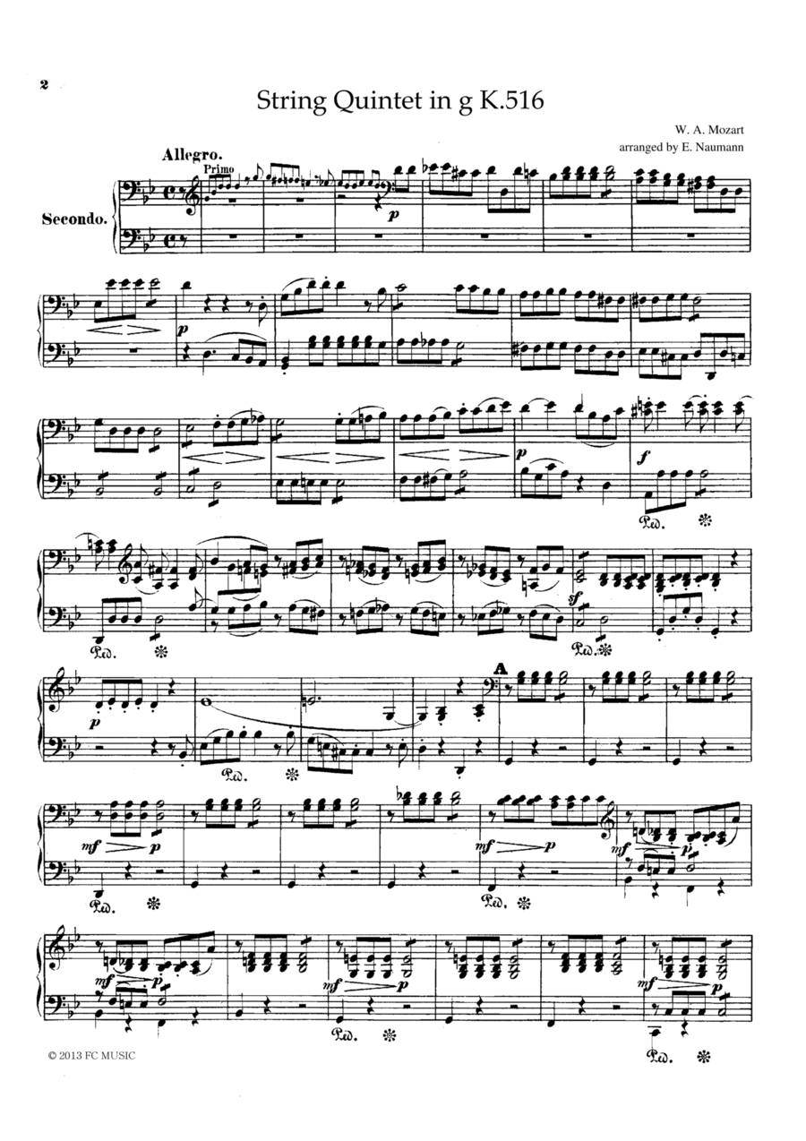 Mozart String Quintet in g K.516, for piano duet(1 piano, 4 hands), PM804