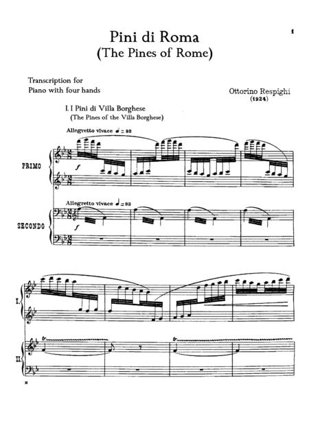Respighi Pini di Roma, for piano duet(1 piano, 4 hands), PR811