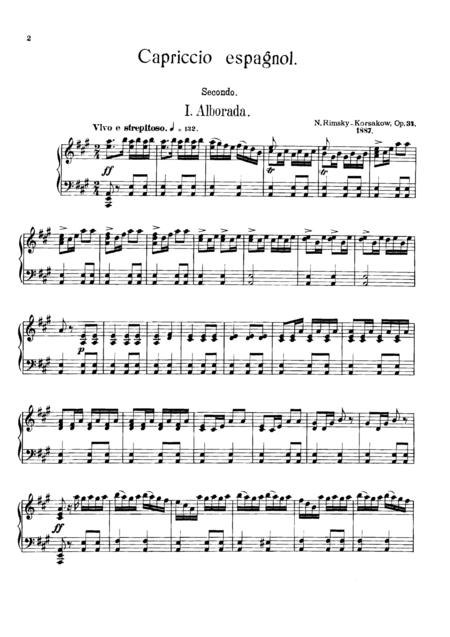 Rimsky-Korsakov Capriccio Espagnol, for piano duet(1 piano, 4 hands), PR835