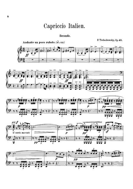 Tchaikowsky Italian Capriccio, for piano duet(1 piano, 4 hands), PT803