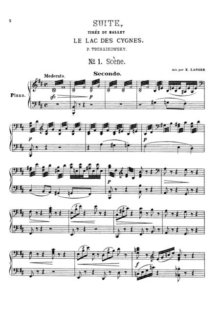 Tchaikowsky from Swan Lake Suite, for piano duet(1 piano, 4 hands), PT804