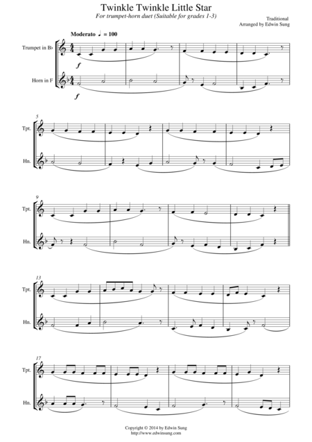 Twinkle Twinkle Little Star (for trumpet-horn duet, suitable for grades 1-3)